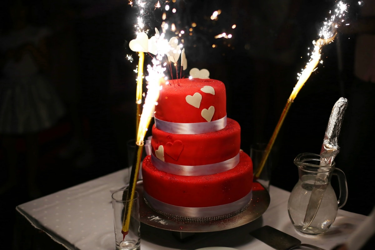 love, spark, birthday cake, birthday, hearts, flame, candle, food, sugar, celebration