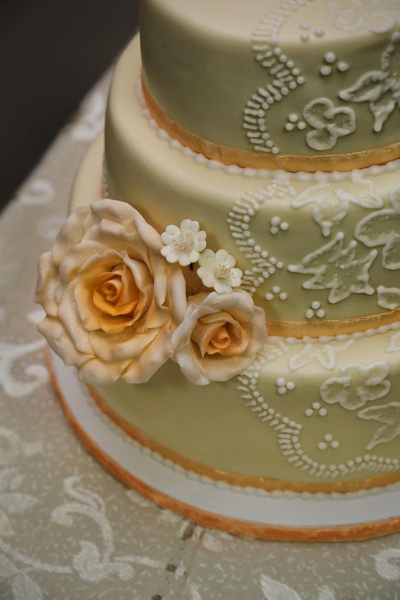 gâteau de mariage, jaune orangé, fermer, gâteau, rosette, romance, mariage, luxe, élégant, amour