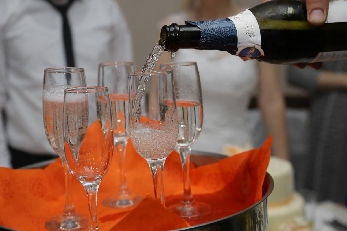 vin, Champagne, bouteille, barman, vin blanc, boisson, verre, boisson, alcool, parti