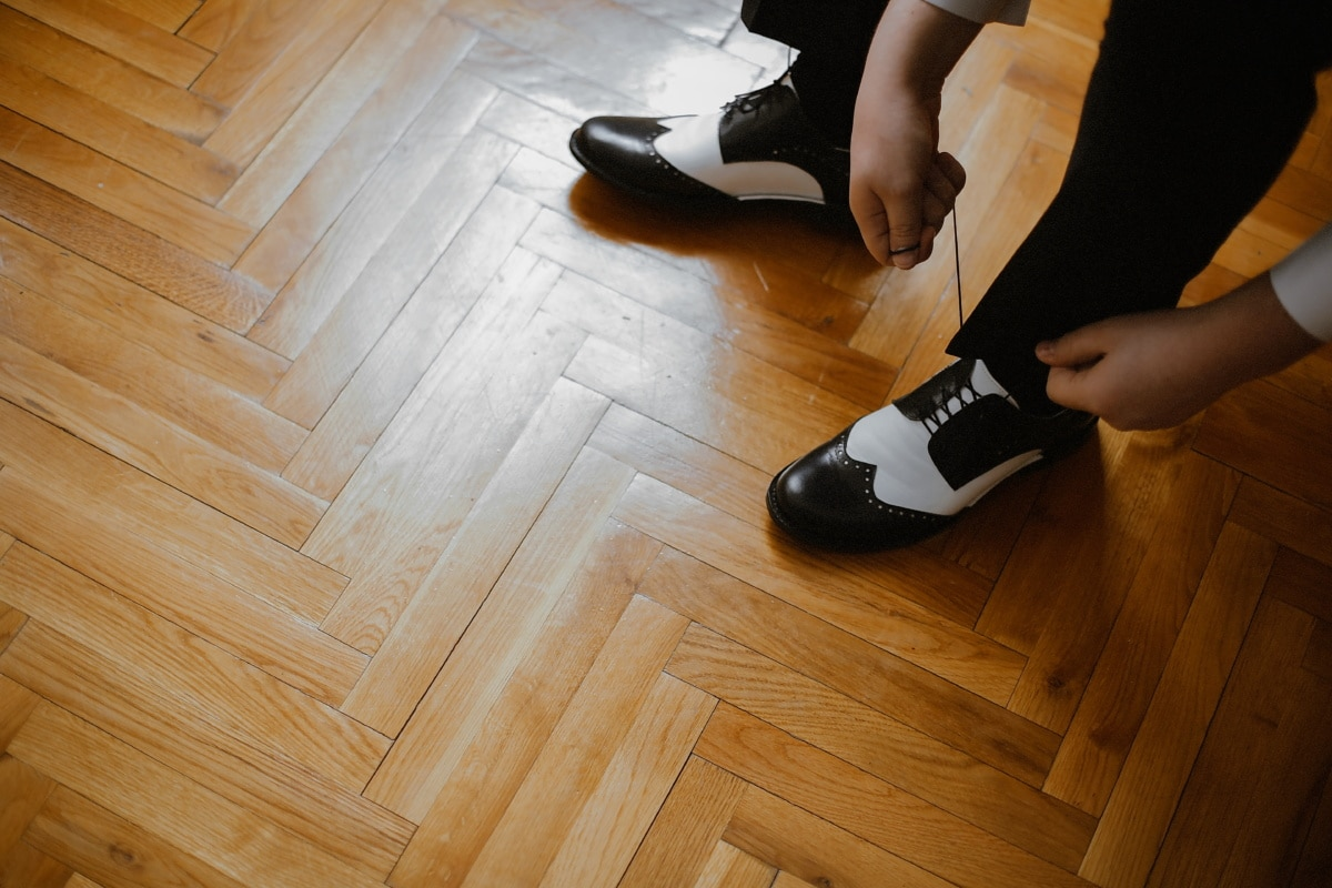 legs, man, foot, footwear, shoelace, shoe, black and white, wood, parquet, floor