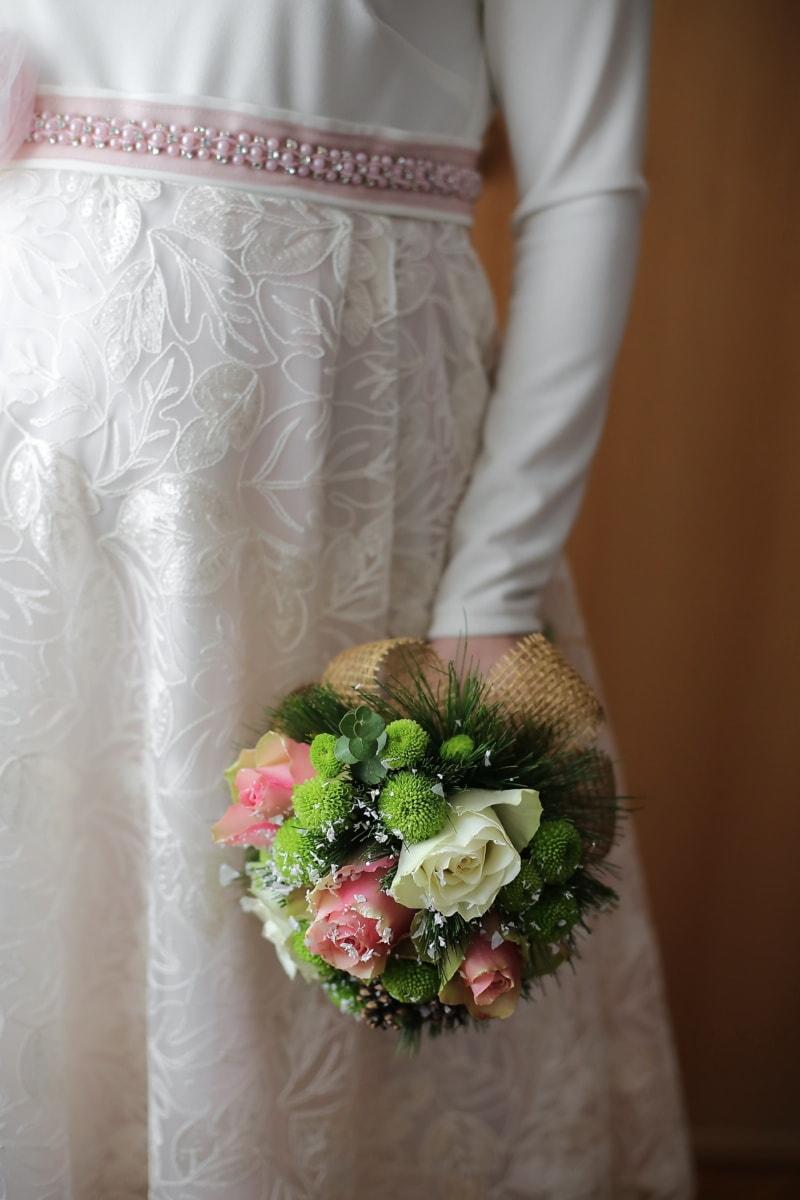 Hochzeitskleid, Kleid, Hochzeitsstrauß, stehende, Braut, Blumenstrauß, Hochzeit, Ehe, frisch, verheiratet
