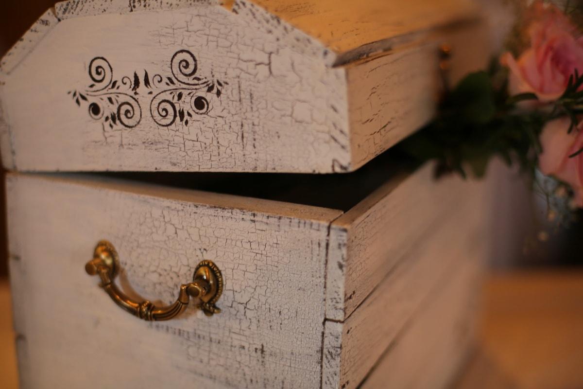 boîte, romantique, style ancien, en bois, boîte de, fait main, menuiserie, Vintage, bois, Design d'intérieur