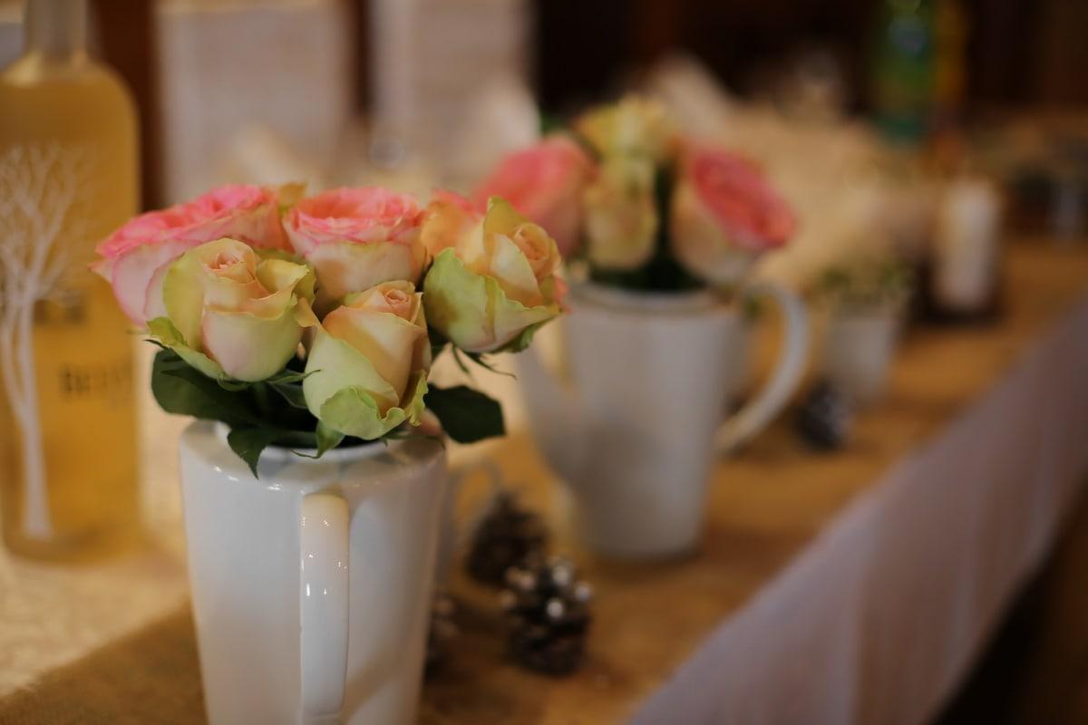 ceramics, vase, pitcher, arrangement, table, tablecloth, roses, bouquet, flower, decoration