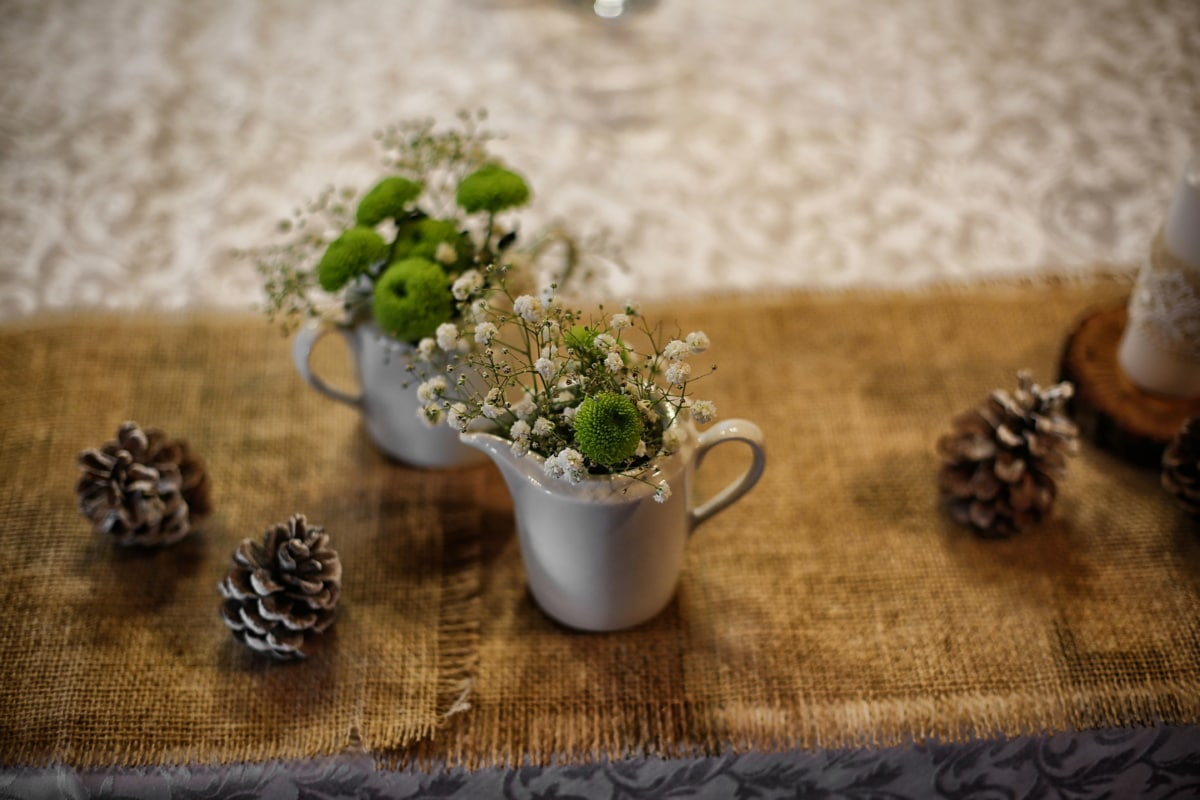 Keramik, Vase, Krug, Tischdecke, Tabelle, Jute, Holz, Still-Leben, Blume, Zen