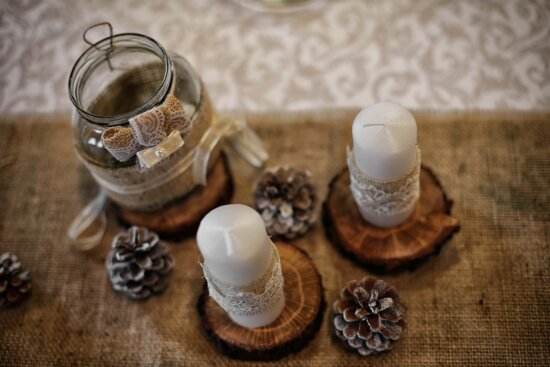 candles, candlestick, jar, still life, jute, wood, traditional, zen, candle, table
