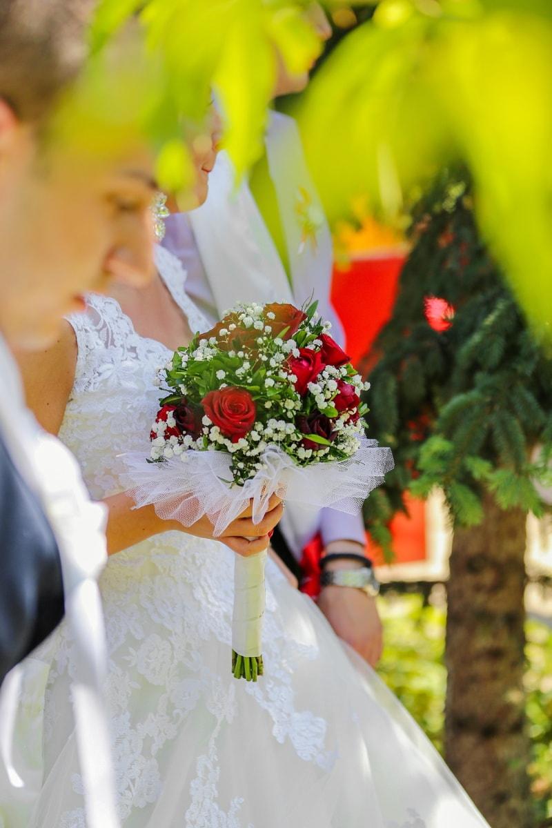 bröllopsklänning, bröllop bukett, folkmassan, händelse, dekoration, bukett, brudgummen, bröllop, ceremoni, bruden