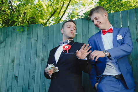 godfather, groom, cash, loan, money, tuxedo suit, bowtie, fashion, friends, friendship