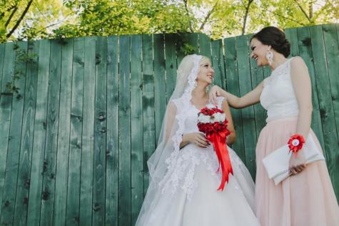 trouwjurk, bruiloft, vriendin, vrienden, bruidsboeket, vrouwen, bruid, jurk, gehuwd met, sluier