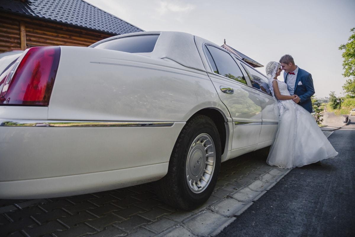 white, sedan, hugging, bride, groom, car, transportation, wheel, automobile, vehicle