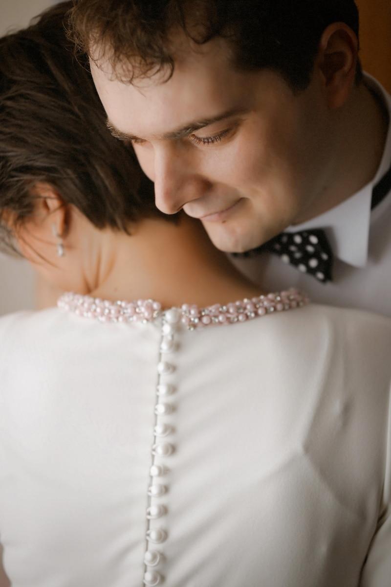拥抱, 女人, 人, 绅士, 领结, 漂亮, 脸, 肖像, 时尚, 女孩
