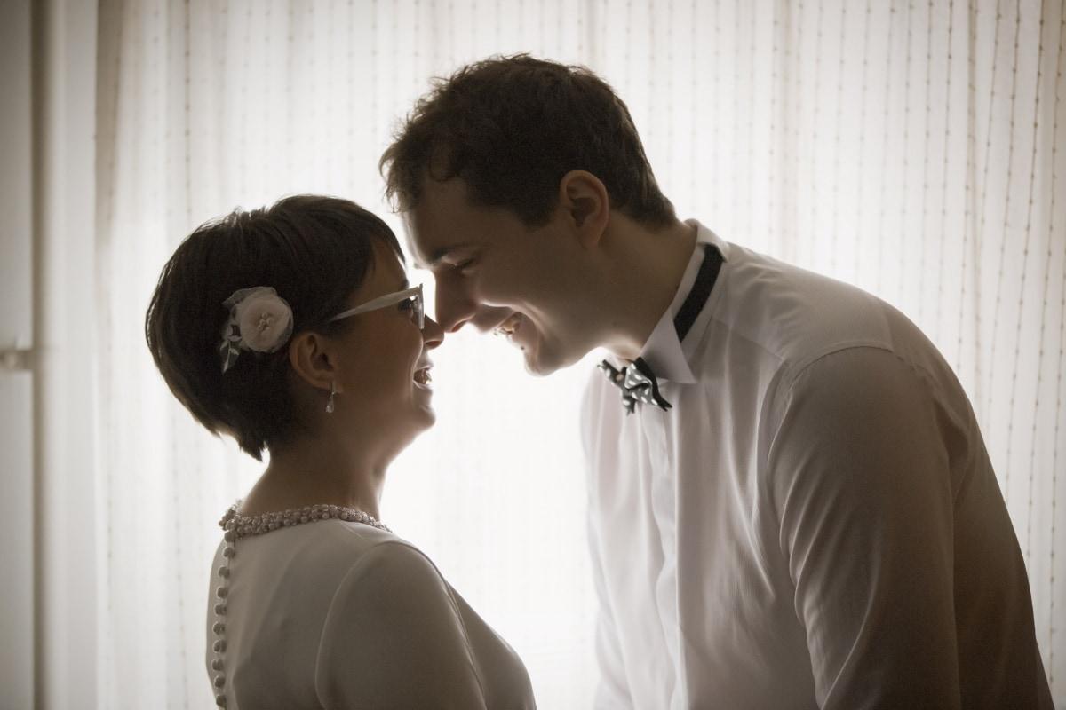 convivialité, souriant, amour, homme, femme, gentilhomme, nœud papillon, vue de côté, personne, Portrait