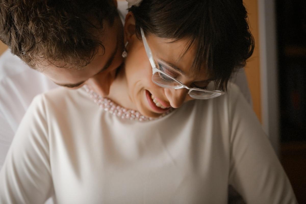 吻, 爱, 脖子, 拥抱, 人, 微笑, 女人, 女孩, 人, 团结