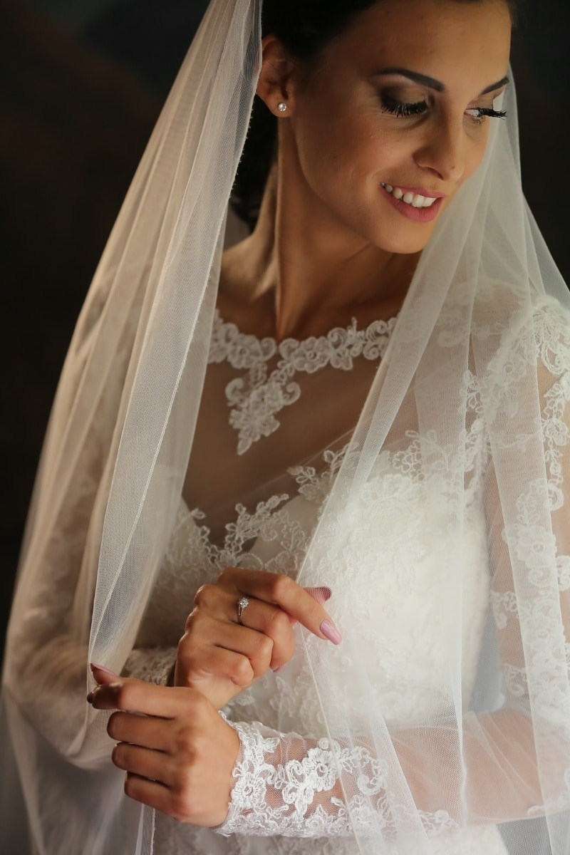 bride, pretty girl, veil, white, dress, side view, portrait, wedding, love, marriage