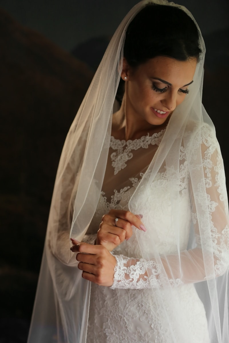 studio photo, robe de mariée, mariage, la mariée, posant, jeune femme, Dame, Jolie fille, Portrait, femme