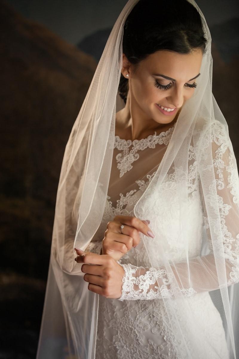 булката, хубаво момиче, красива, воал, щастие, усмихнати, портрет, мода, сватба, жена
