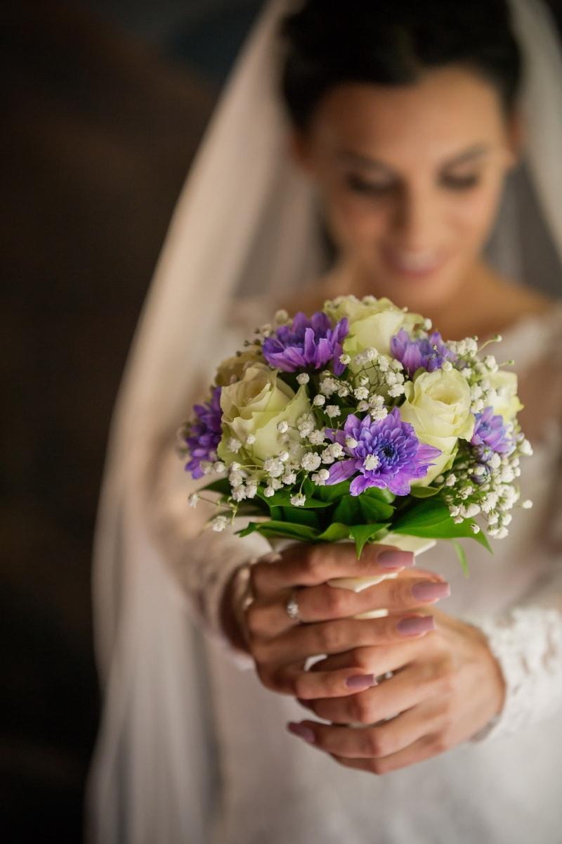 Hochzeitsstrauß, aus nächster Nähe, Hände, Braut, Engagement, Bräutigam, Hochzeit, Frau, Blume, Anordnung