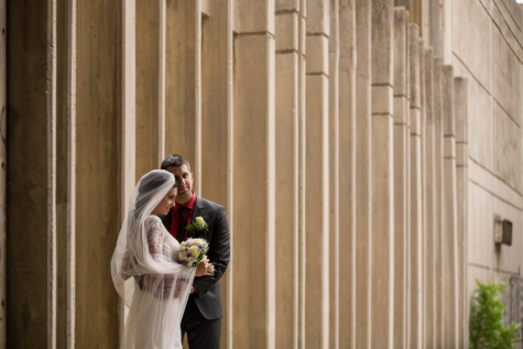 posing, street, wife, husband, bride, wall, architecture, groom, wedding, dress