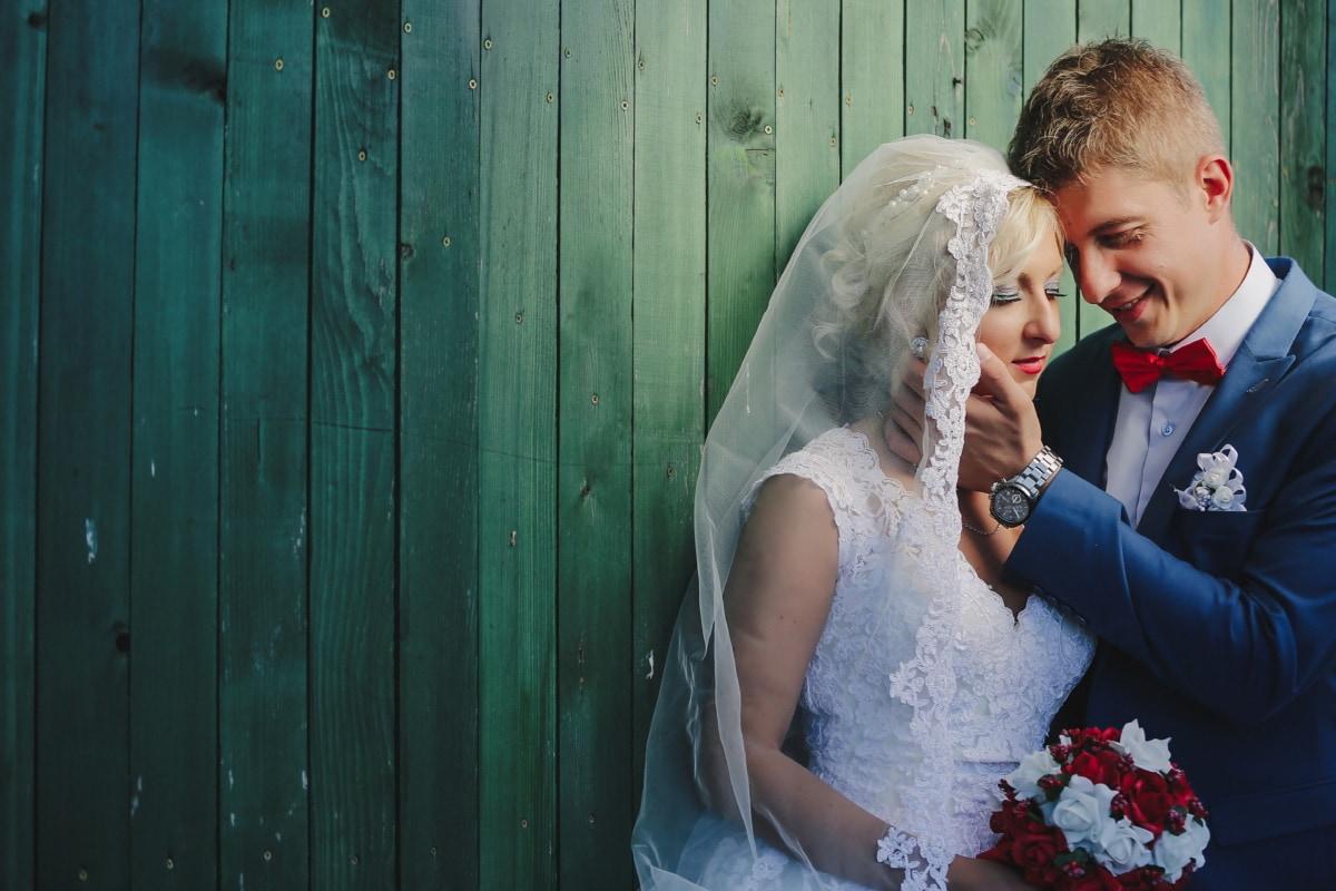 nœud papillon, la mariée, élégance, élégant, étreinte, visage, jeune marié, tête, câlin, étreindre