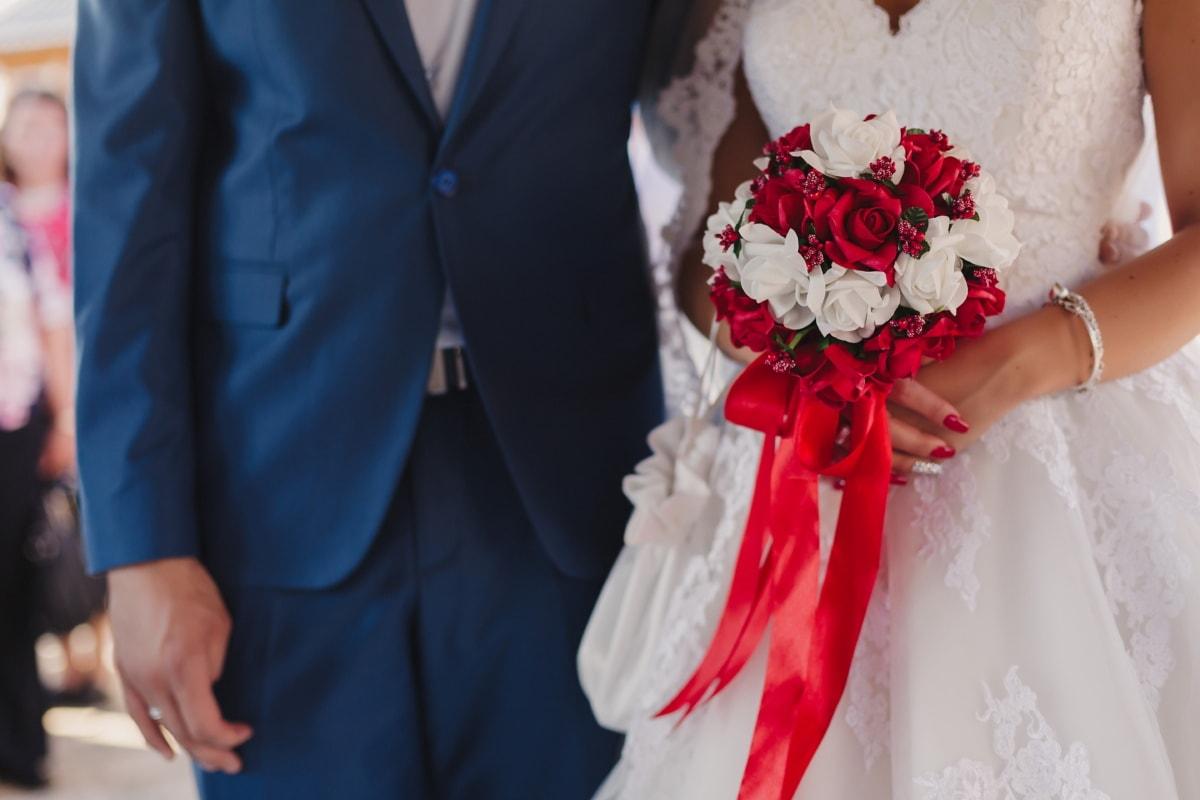 ウェディングブーケ, 結婚, カップル, ウェディングドレス, 妻, 夫, 愛, 女性, 花嫁, 結婚式