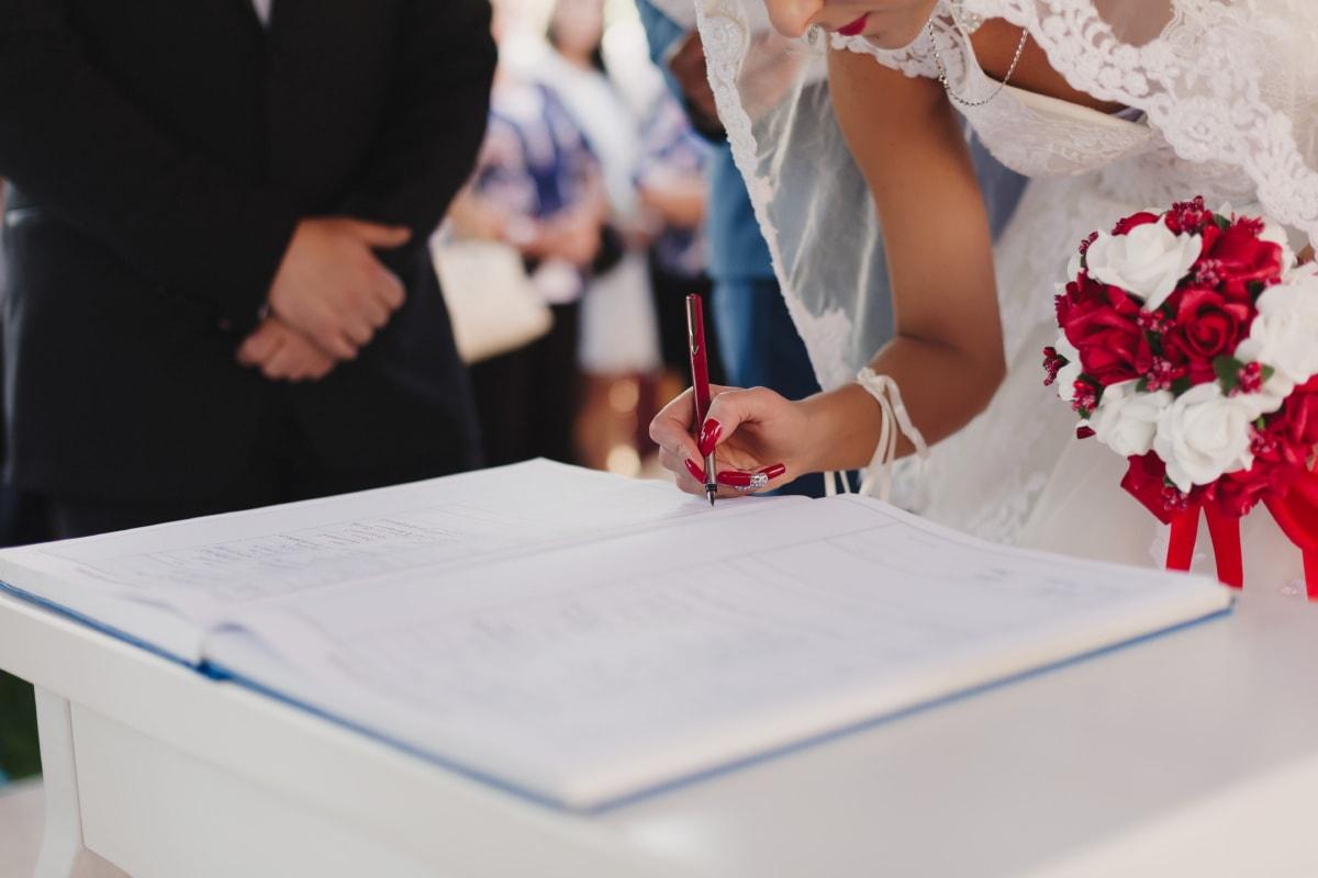 la mariée, signature, bouquet de mariage, mariage, robe de mariée, gens, réunion, papier, homme d'affaire, professionnel