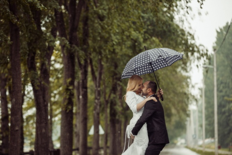 umbrella, woman, rain, love, hugging, man, smile, kiss, girl, outdoors