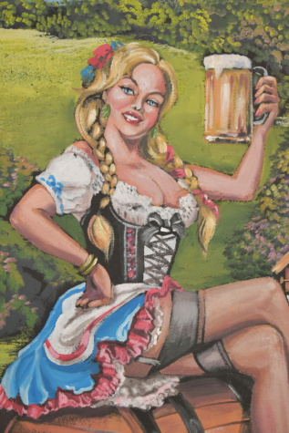 pretty girl, blonde hair, old fashioned, costume, fashion, graffiti, old style, beer glass, art, illustration
