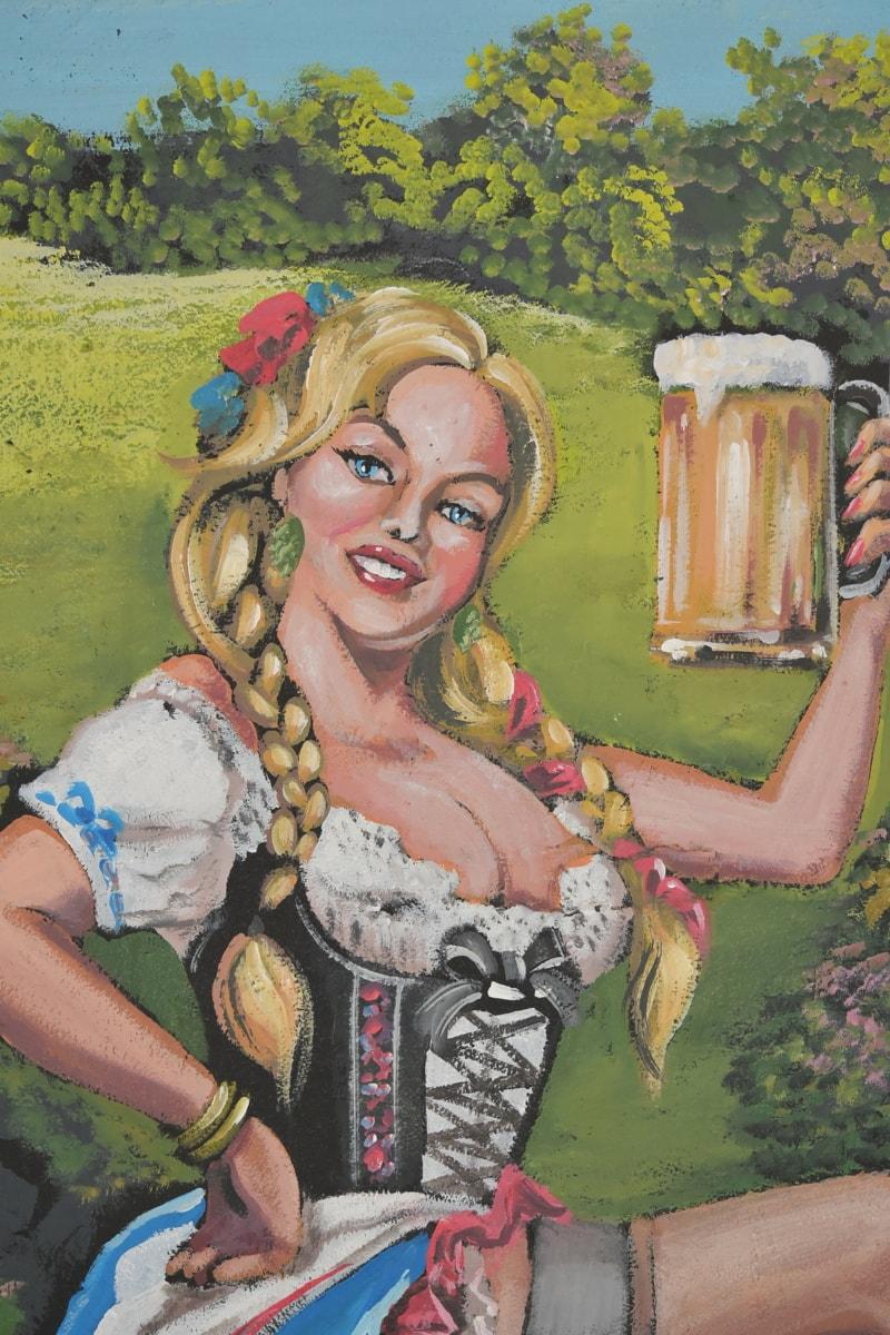 Bierglas, Blondine, Deutschland, Deutsch, Graffiti, Design, Bier, hübsches mädchen, Wandbild, blonde Haare