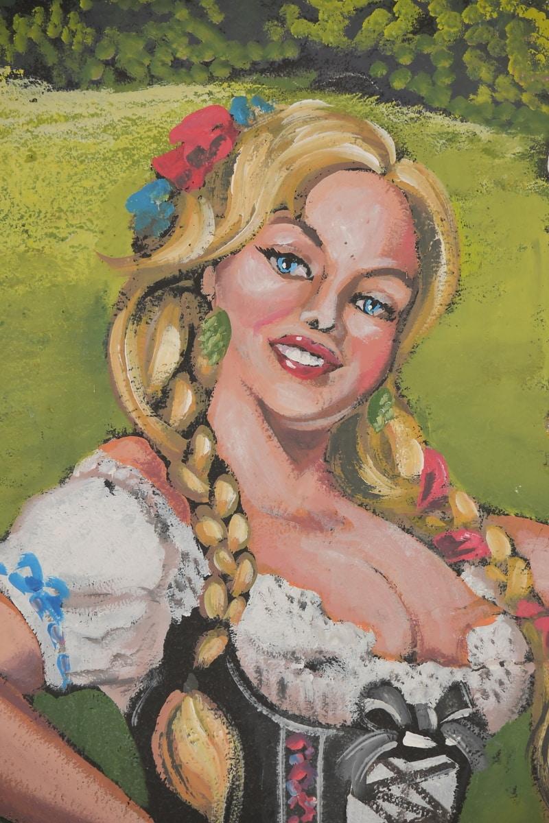 hübsches mädchen, posiert, Blondine, Gesicht, Kostüm, Kleid, visuelle, Wandbild, Kunst, Abbildung
