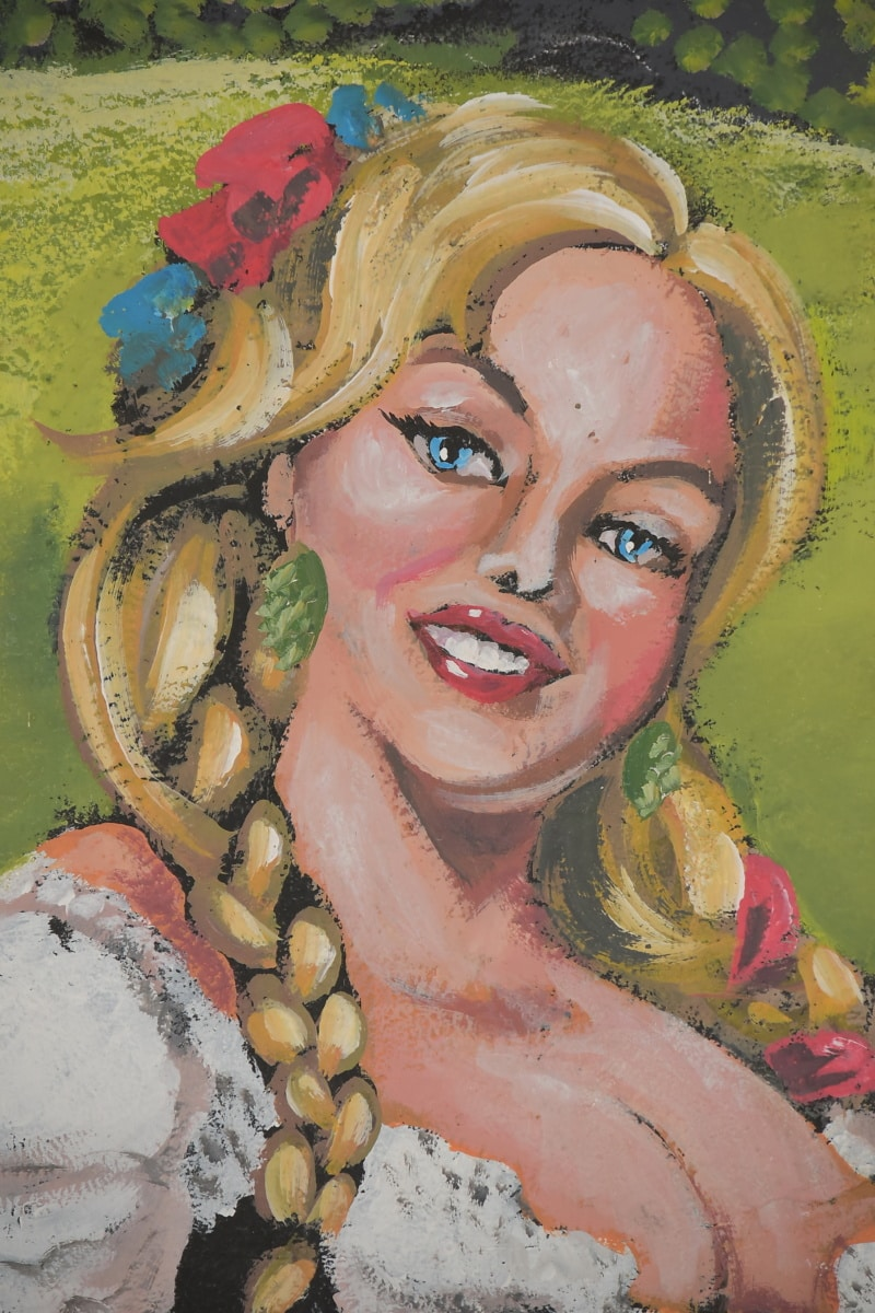 ผมบลอนด์, ศิลปะ, รอยยิ้ม, ศิลปะ, ใบหน้า, กราฟฟิตี, ตา, แนวตั้ง, ผู้หญิง, สี