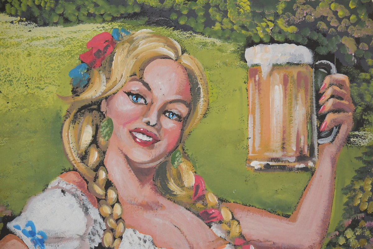 blonde hair, pretty girl, visuals, graffiti, beer glass, smile, beer, art, woman, illustration