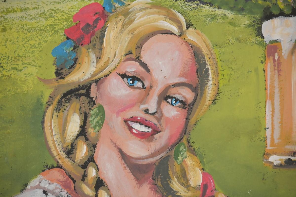 Bierglas, Blondine, Trinken, Graffiti, Bier, hübsches mädchen, blonde Haare, Kunst, Malerei, Gesicht