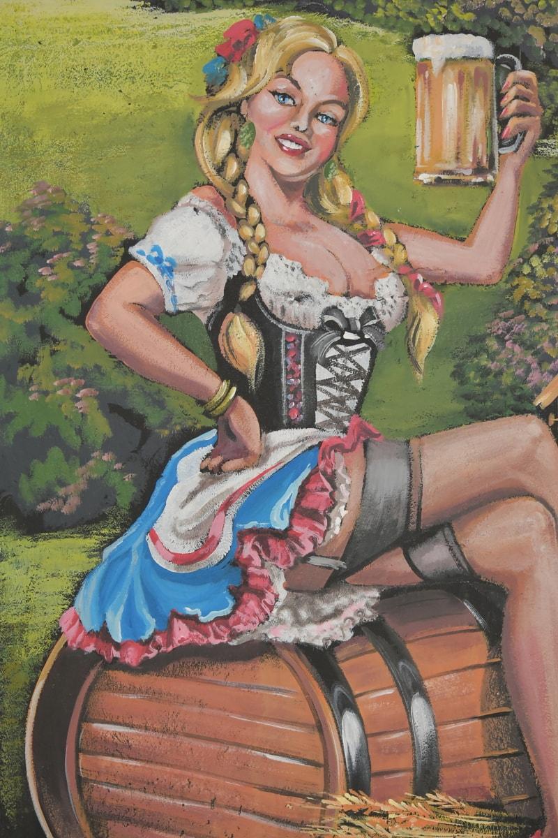 effets visuels, oeuvre, Graffiti, jeune fille, verre à bière, costume, bière, style, Allemand, mode