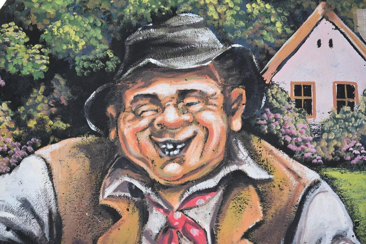 làng, Graffiti, dân làng, ông già, cũ thời, thắt nơ, khuôn mặt, nụ cười, văn hóa, nghệ thuật