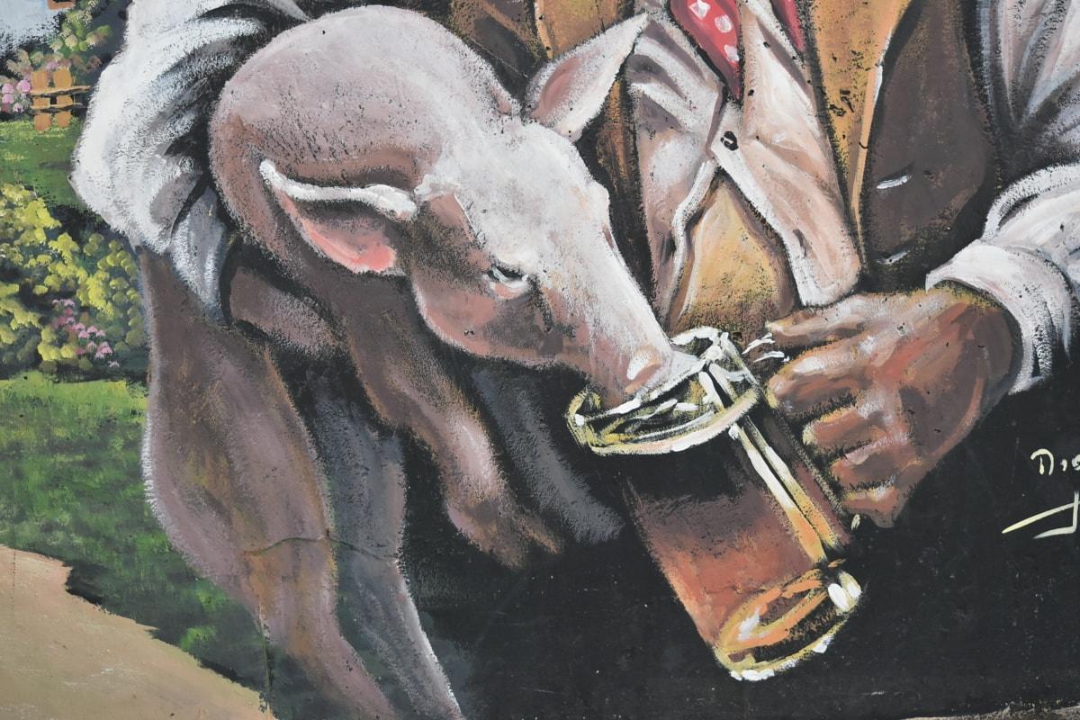Graffiti, Porcinet, porcs, consommation d'alcool, bière, verre à bière, animal, art, artistique, oeuvre