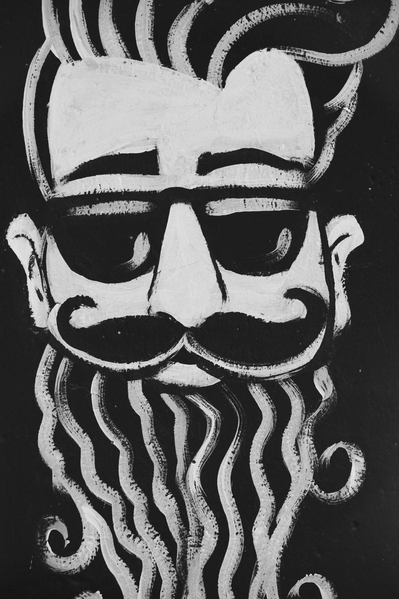 graffiti, muž, portrét, čierna a biela, Vintage, fúzy, fúzy, ľudia, umenie, Monochromatický