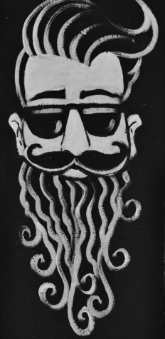 beard, style, hairstyle, mustache, black and white, graffiti, art, people, face, symbol