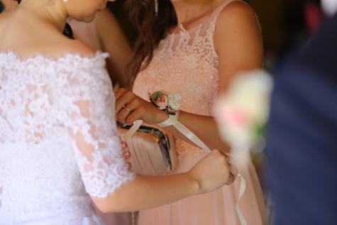 花, 詳細, アクセサリー, ドレス, ハンドバッグ, 結婚式, 女性, 花嫁, 婚約, ロマンス