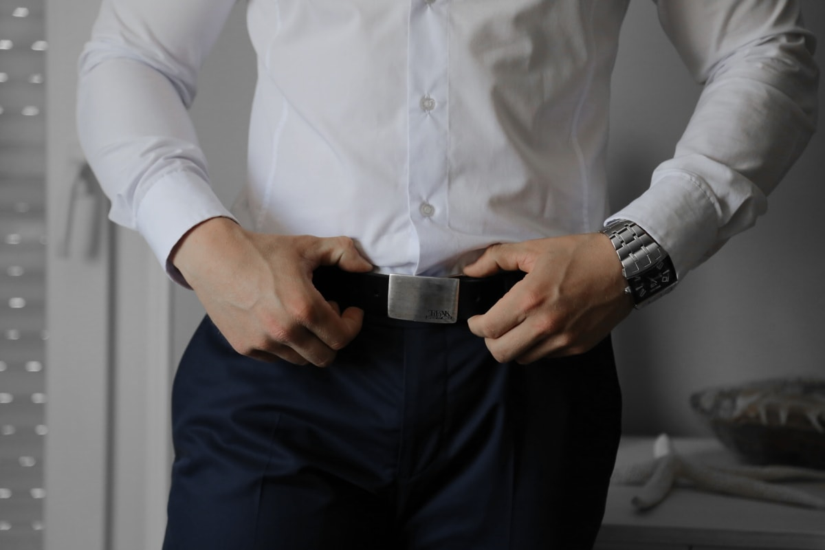 standing, man, confidence, shirt, belt, wristwatch, pants, hand, indoors, fashion