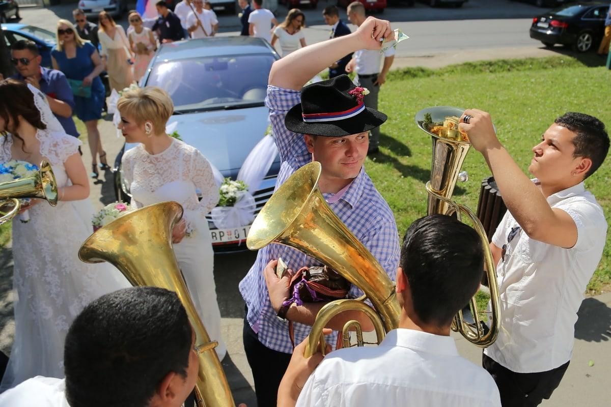 casamento, Orquestra, trompetista, celebração, multidão, dinheiro, música, festival, latão, pessoas