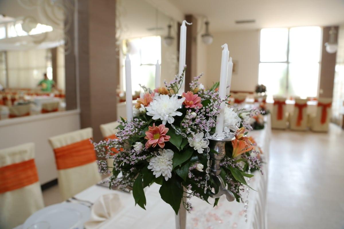dining area, candlestick, lunchroom, decoration, flowers, arrangement, bouquet, interior design, indoors, dining