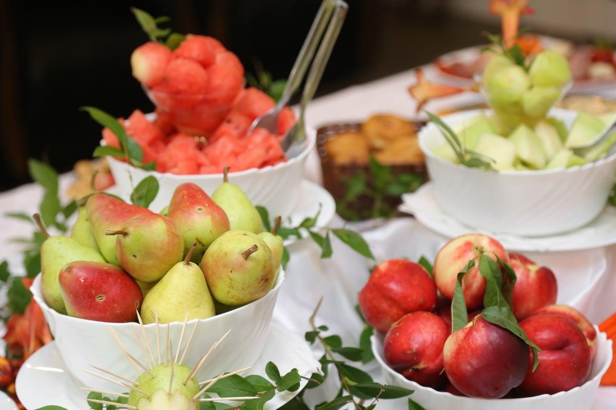 Salat-bar, Pfirsich, vom Buffet, Birnen, frisch, Vitamin, Gemüse, Ernährung, gesund, Obst