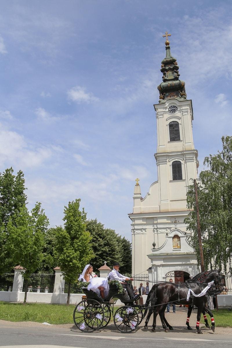 preprava, kone, svadobné šaty, svadba, nevesta, veža kostola, kostol, budova, veža, náboženstvo