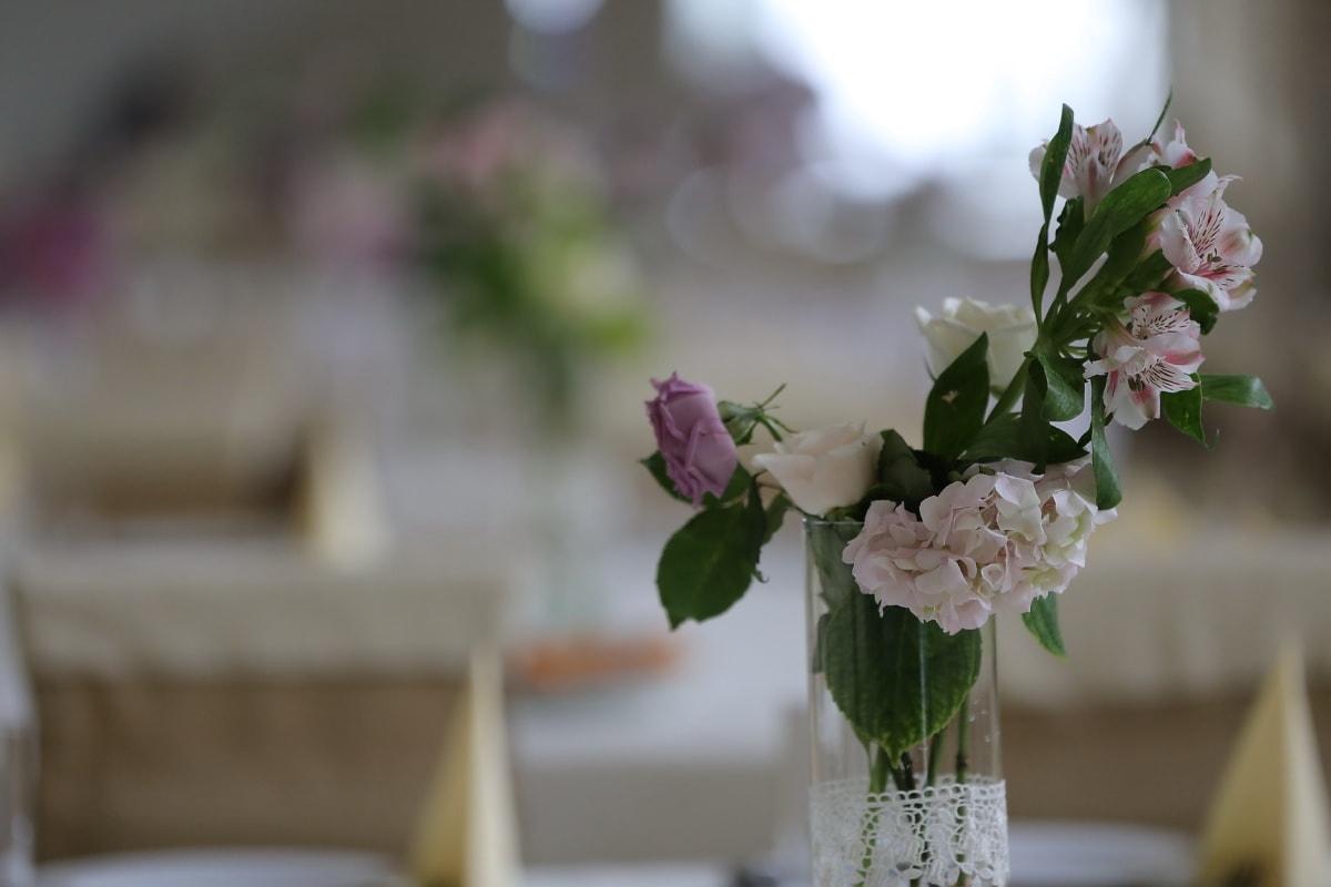 vase, white flower, flower, bouquet, flowers, blur, leaf, elegant, outdoors, rose