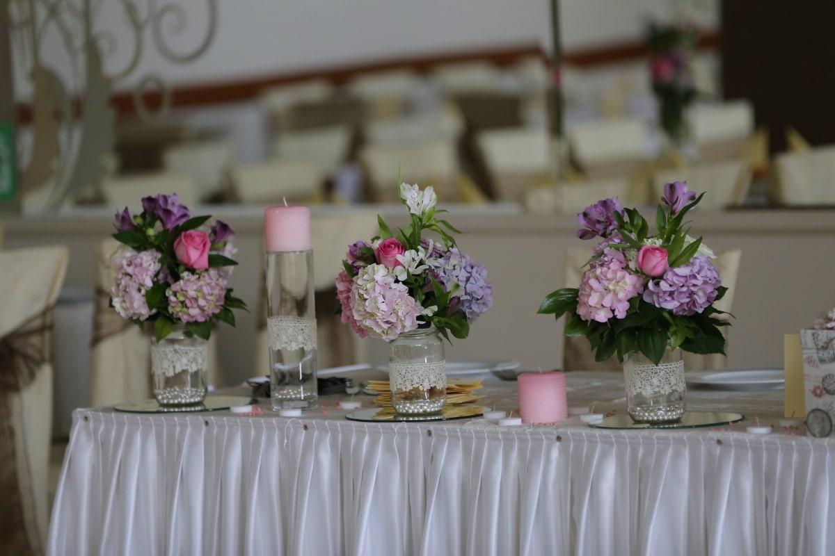 salle à manger, vase, décoration d'intérieur, nappe, élégant, réception, arrangement, table, bouquet, fleur