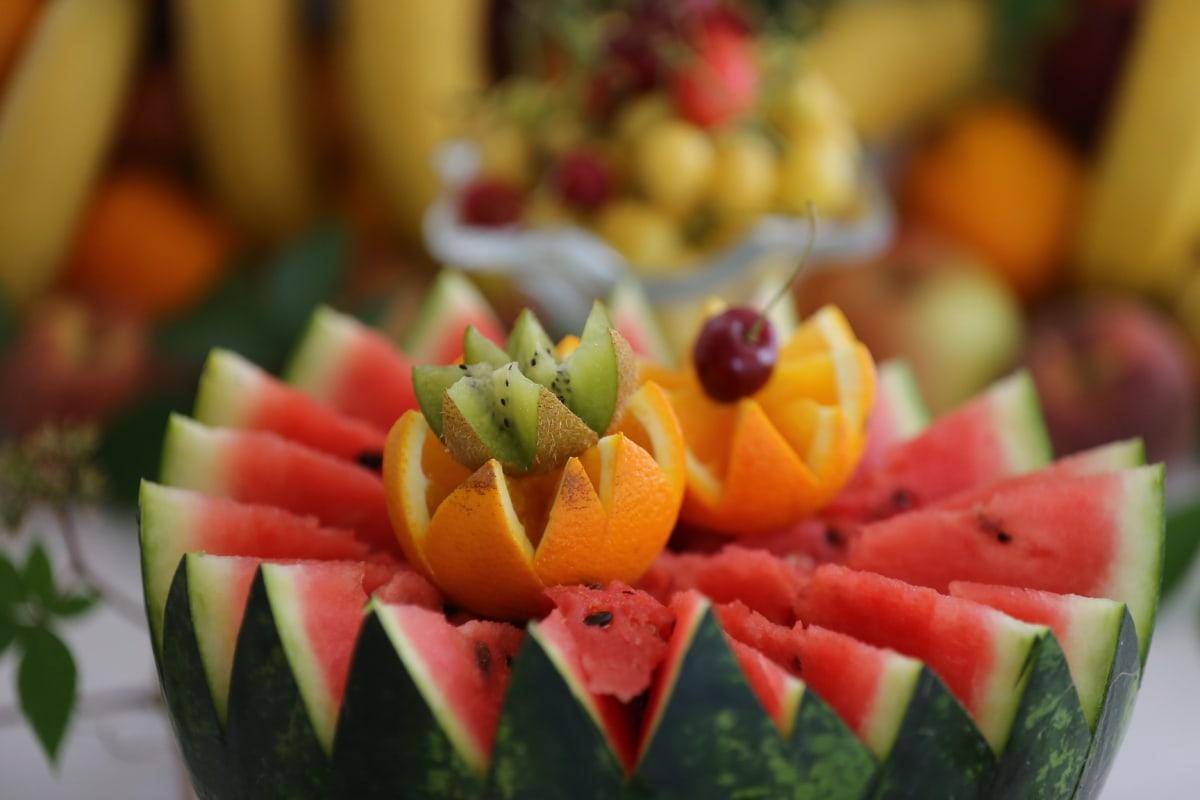 oranges, Kiwi, melon d'eau, fruits, melon, santé, alimentaire, cantaloup, délicieux, tropical