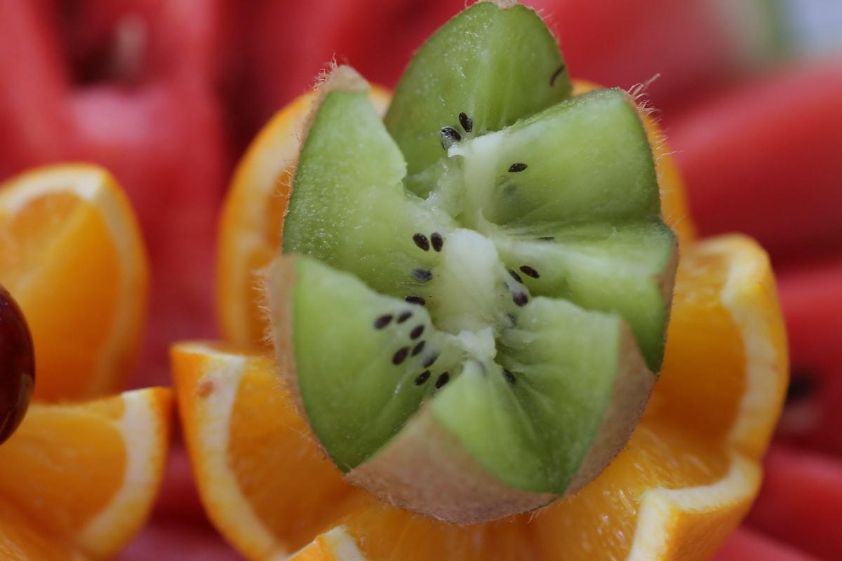 Kiwi, frø, nært hold, tropisk, utskjæringer, frukt, mat, sunn, helse, frisk
