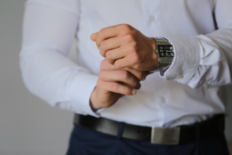 wristwatch, businessman, hand, man, indoors, business, pants, fashion, person, hands