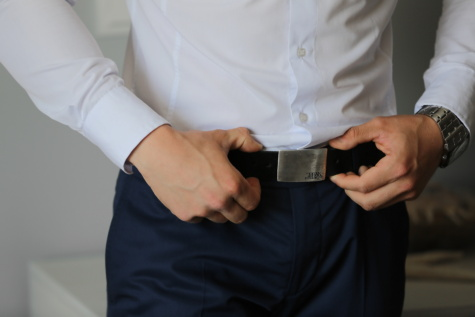 wristwatch, pants, modern, belt, suit, businessman, man, business, indoors, touch
