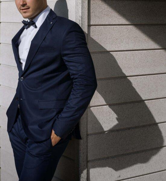 standing, man, bowtie, businessman, tuxedo suit, walls, corner, handsome, clothing, business