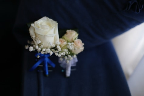 white flower, miniature, decorative, accessory, romance, wedding, flower, rose, marriage, blur